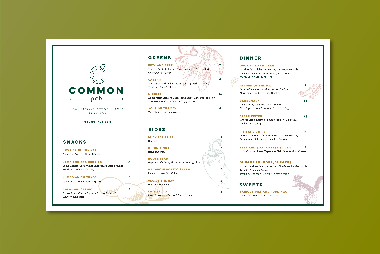 Common Pub Dinner Menu